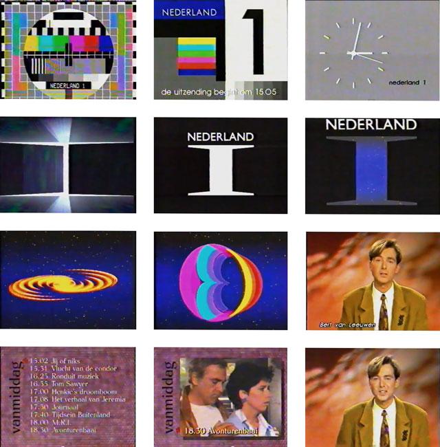 Het begin van de EO-woensdag op Nederland 1. Na het testbeeld, start-up en klok: de zendervormgeving (ca 8 sec) gaat over in de EO stationcall (ca 20 sec), de omroeper en programmaoverzichten (ca 2 min)