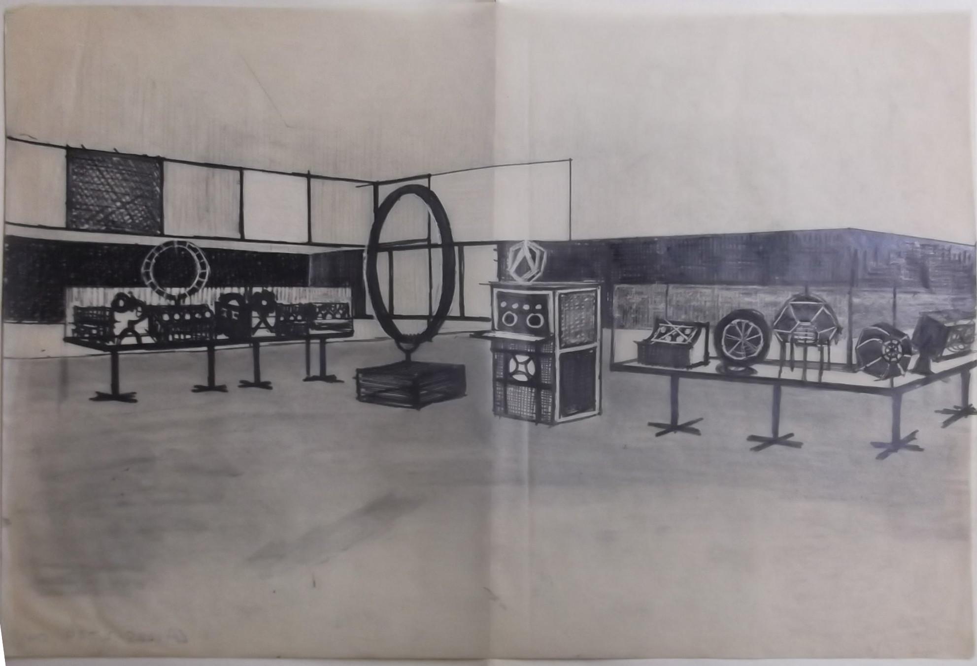 VARA tentoonstelling, oktober 1964, Freek Biesiot. © Beeld en Geluid