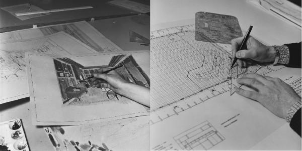 Decorontwerpers in beeld gebracht, foto's voor het NOS jaarverslag van 1977 © Beeld en Geluid