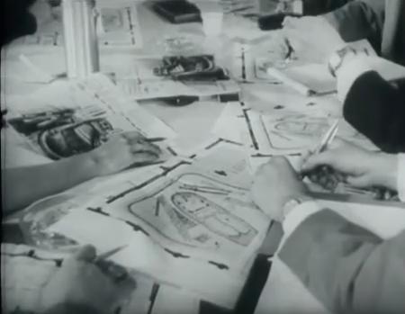 De tweede decorbespreking (uit Miljoenen ogen, NOS, 1-10-1961) © Beeld en Geluid