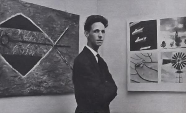 Peter Keesom bij de tentoonstelling 'Buiten beeld' in 1962