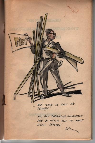 Zelfportret Weynand Grijzen in het door hem en Ben Albach geschreven boekje 'De entourage van het lekentoneel' (1954)