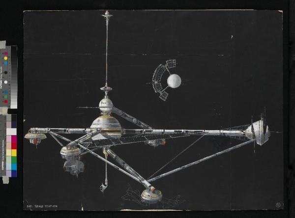 Harry Lange, artwork voor het exterieur van het ruimtestation in  Moonraker. Copyright Notice - © 1979 Danjaq, LLC and United Artists Corporation. All rights reserved.